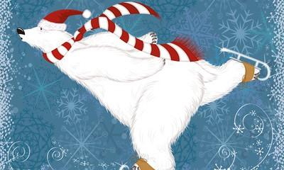 Eisbär wünscht frohe Weihnachten und einen guten Rutsch
